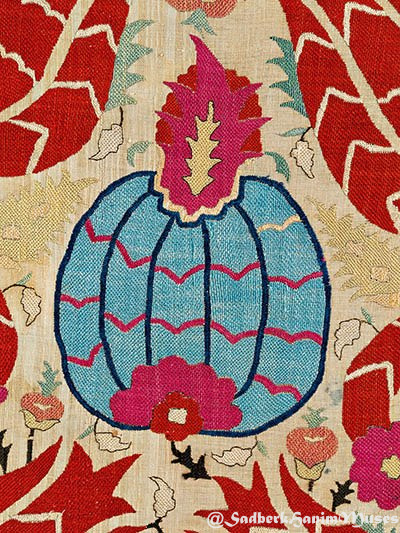 Embroidered pomegranate abundance, 18th C Ottoman