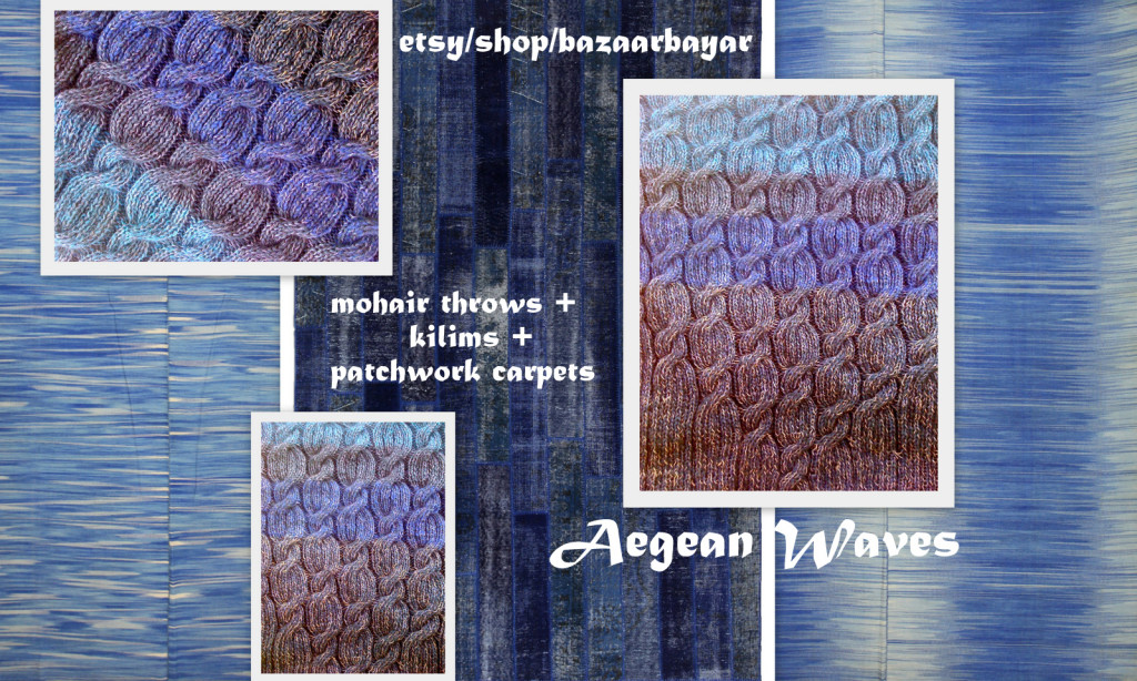 Aegean Waves Handknit Mohair Throw