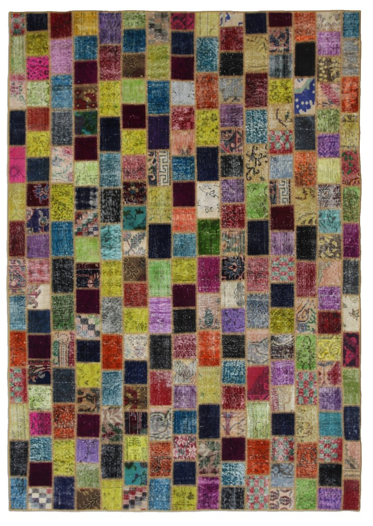 Multicolor Mosaic Rug Squares Vintage Turkish 10'x7'
