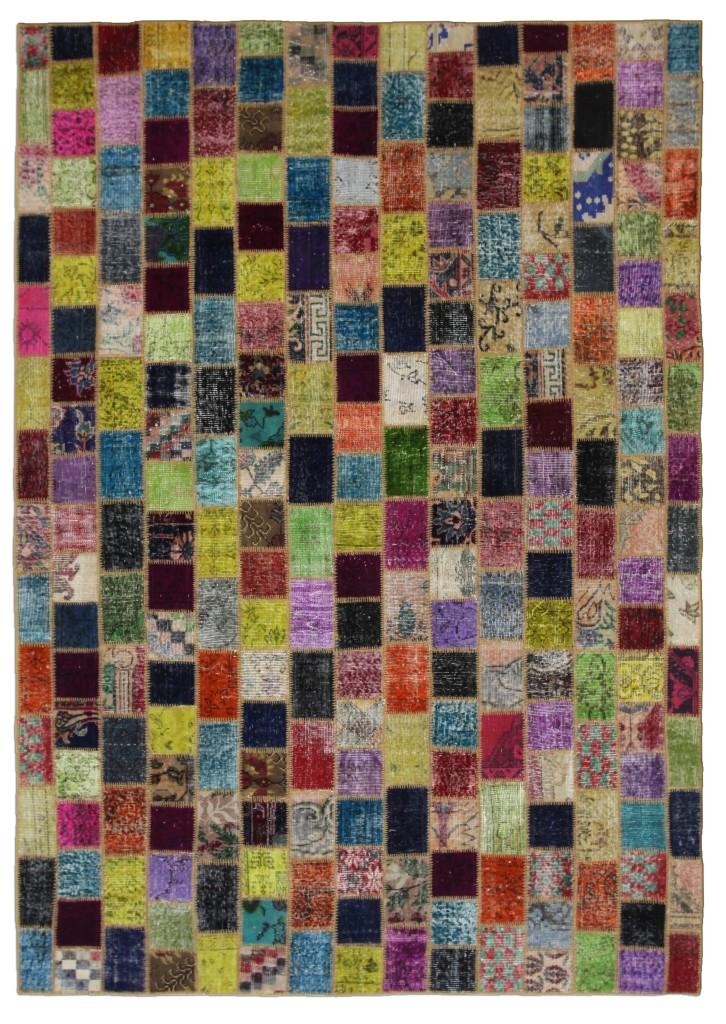 Multicolor Mosaic Rug Squares Vintage Turkish 10'x7'