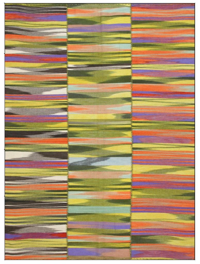 Multicolor Varigated Stripe Rug Old Wool Kilim Handwoven Turkish 9'x7'